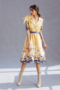 Cream Knot Sleeves Dress