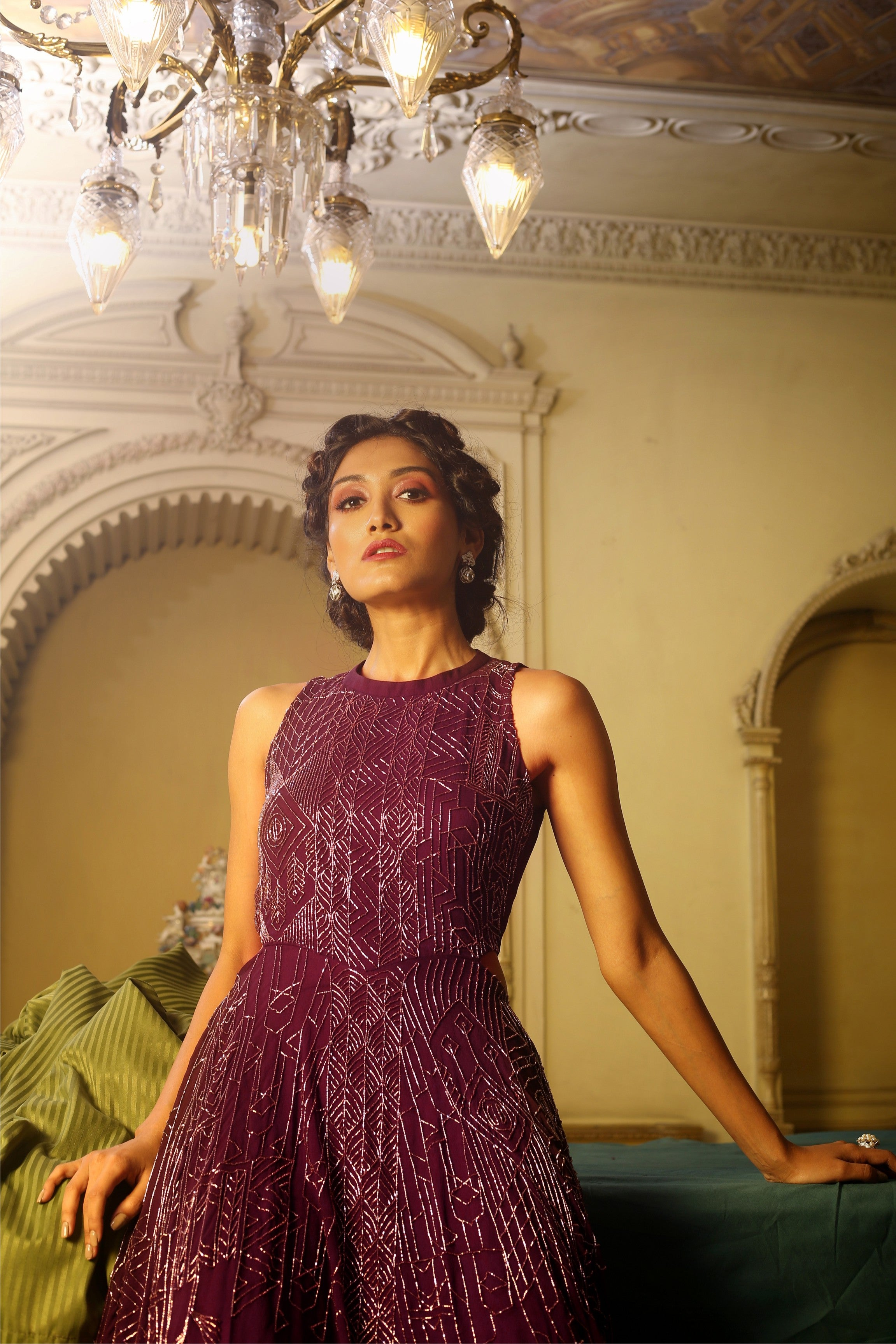 Aubergine Beaded Cut-Out Gown