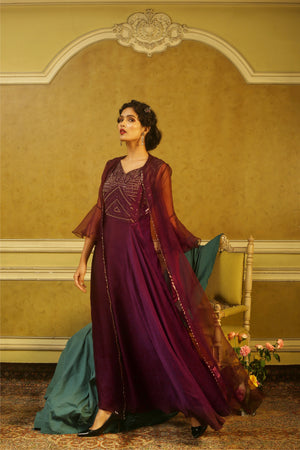 Aubergine Beaded Gown with Scallop Embroidered Organza Jacket