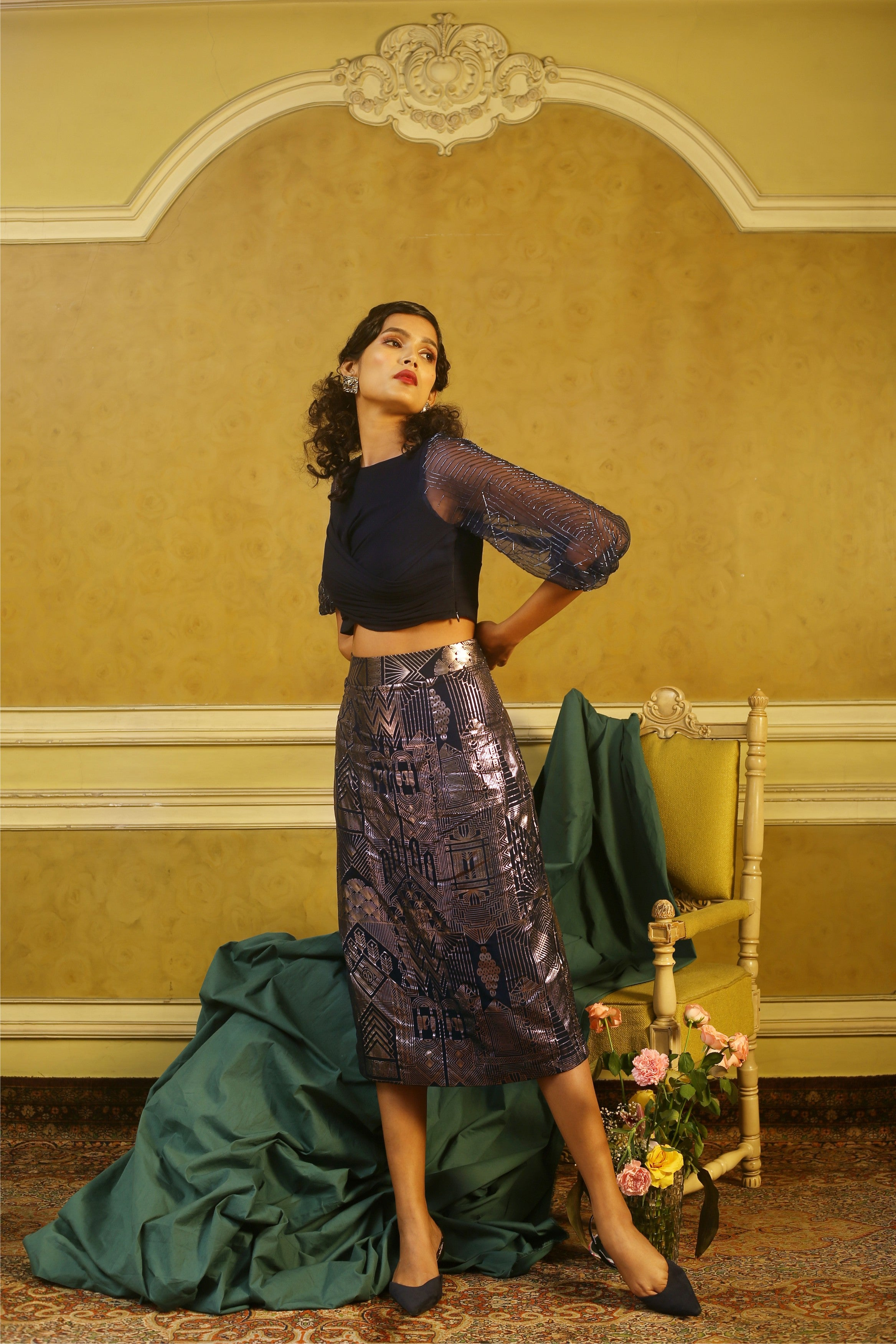 Navy Twist Organza Sleeves Top & Printed Pencil Skirt