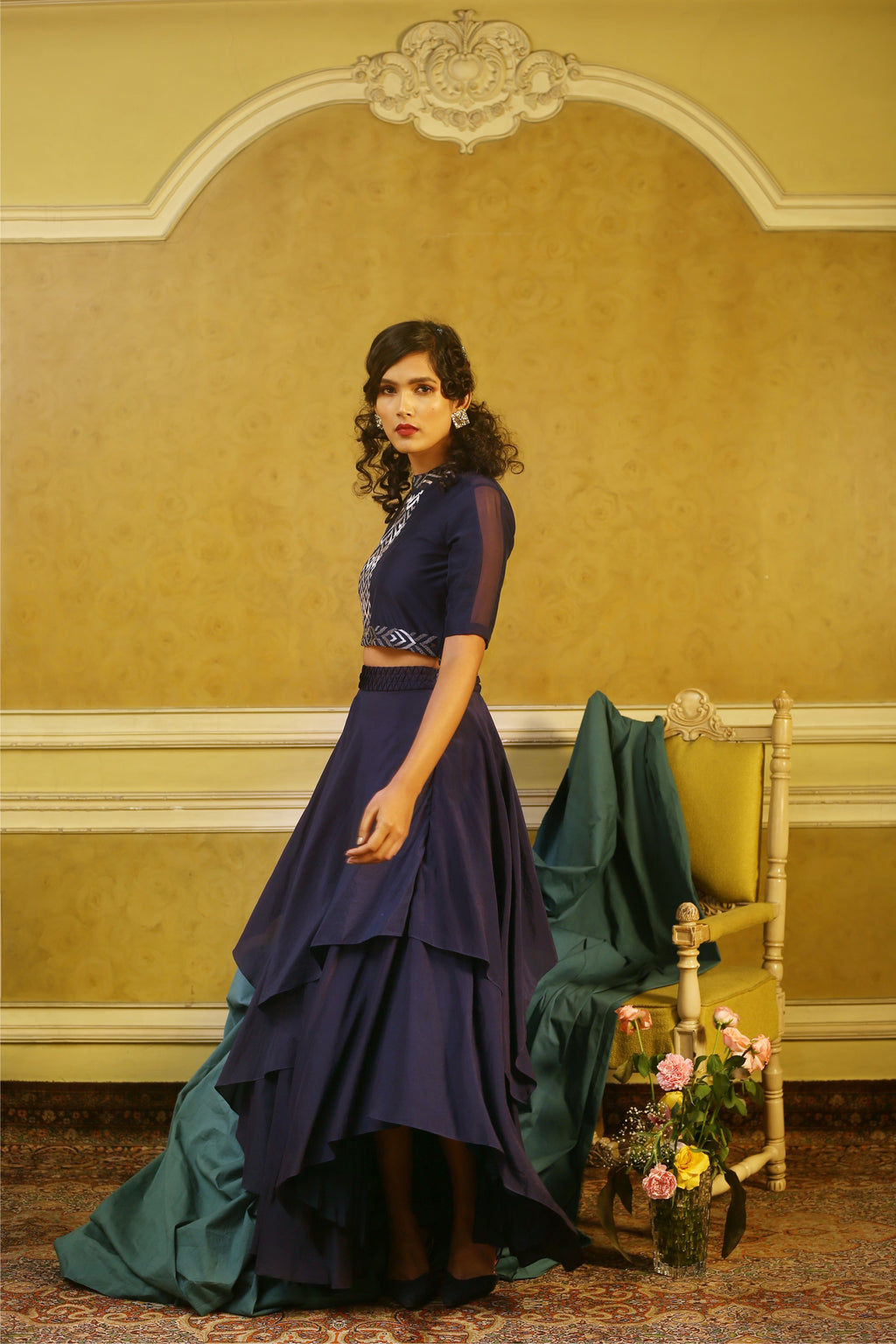 Navy Embroidered Sheer Shoulder Top & Origami Layered Skirt