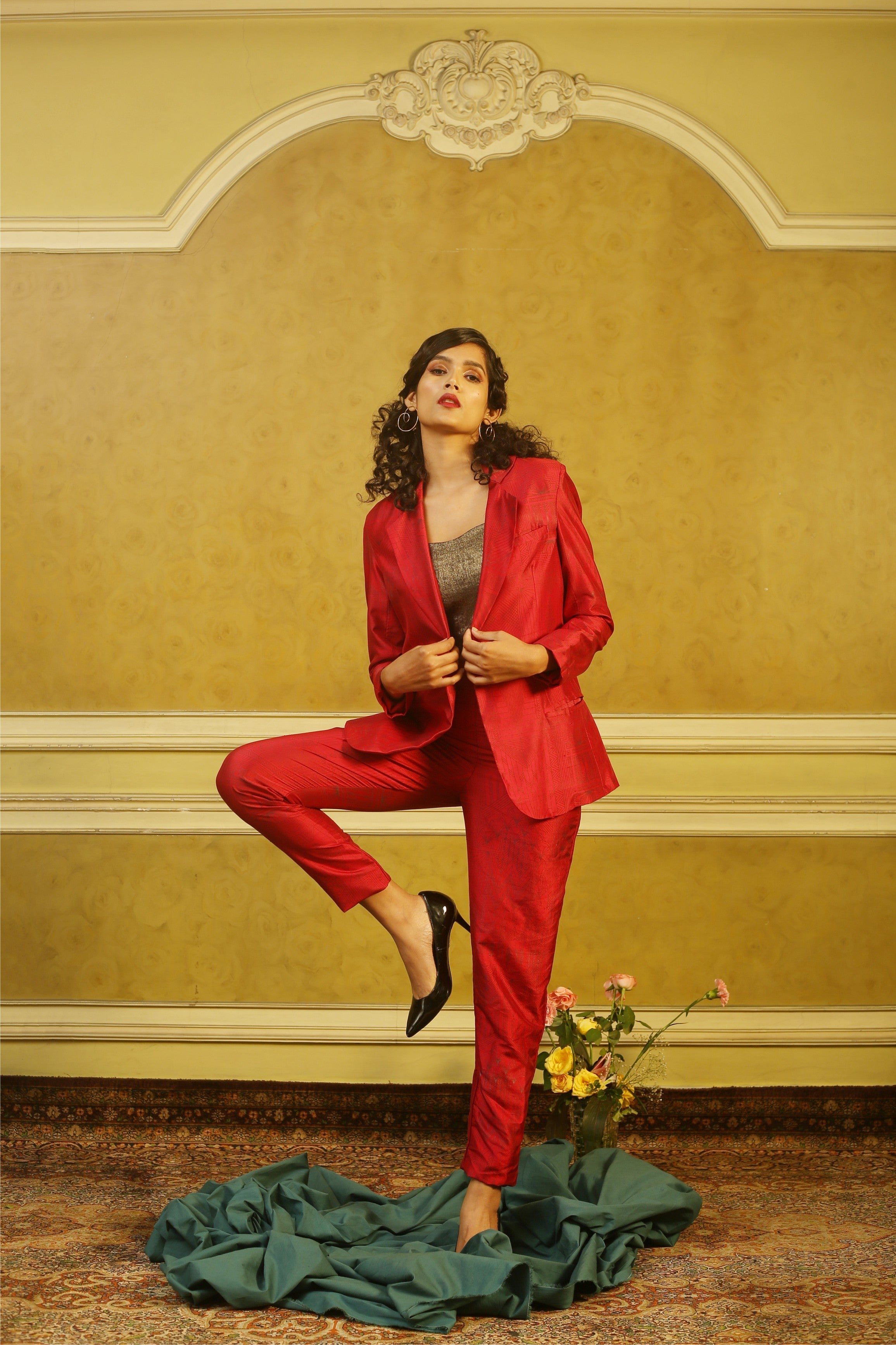 Brick Red Art Deco Pant-Suit with Gold Bustier