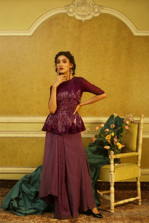 Aubergine Off-the-Shoulder Peplum Top & Printed Drape Skirt