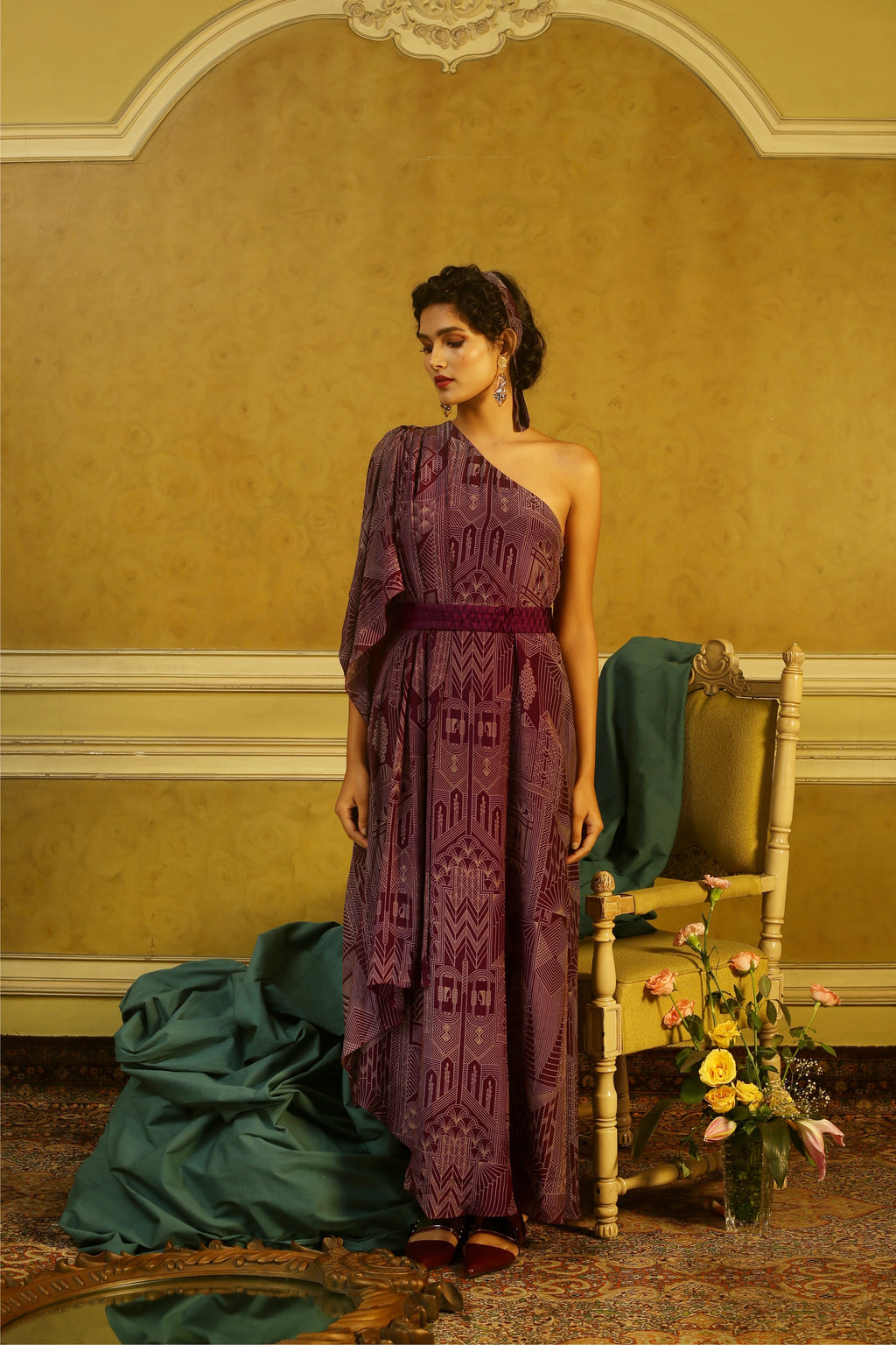 Aubergine Art Deco One Shoulder Belted Maxi