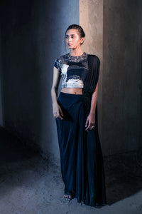 Black draped saree set