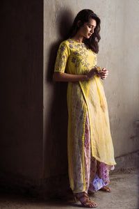 Yellow organza slit tunic with draped pants