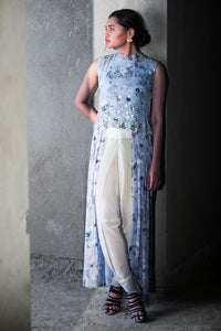 Powder blue pleated tunic with dhoti pants