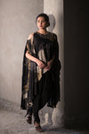Black printed cold shoulder cape top with dhoti pants