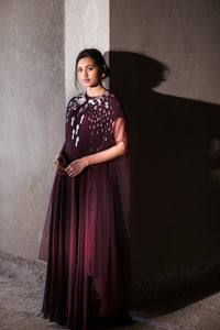 Maroon gown with embroidered net cape