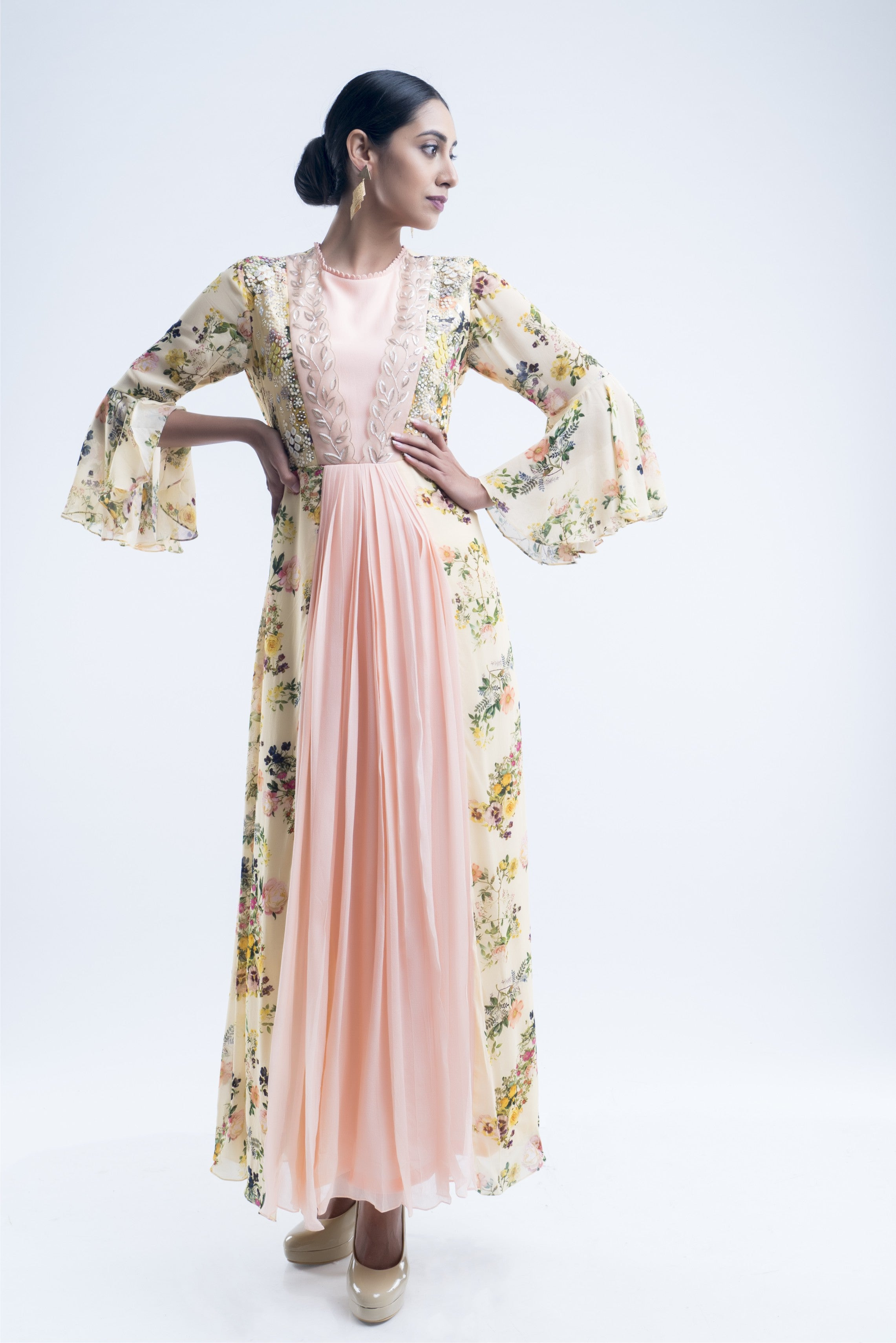 Offwhite Floral Color Block Pleated Gown