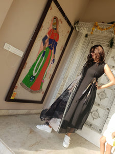 Lakshmi Manchu In Black Geometric Color Block Maxi
