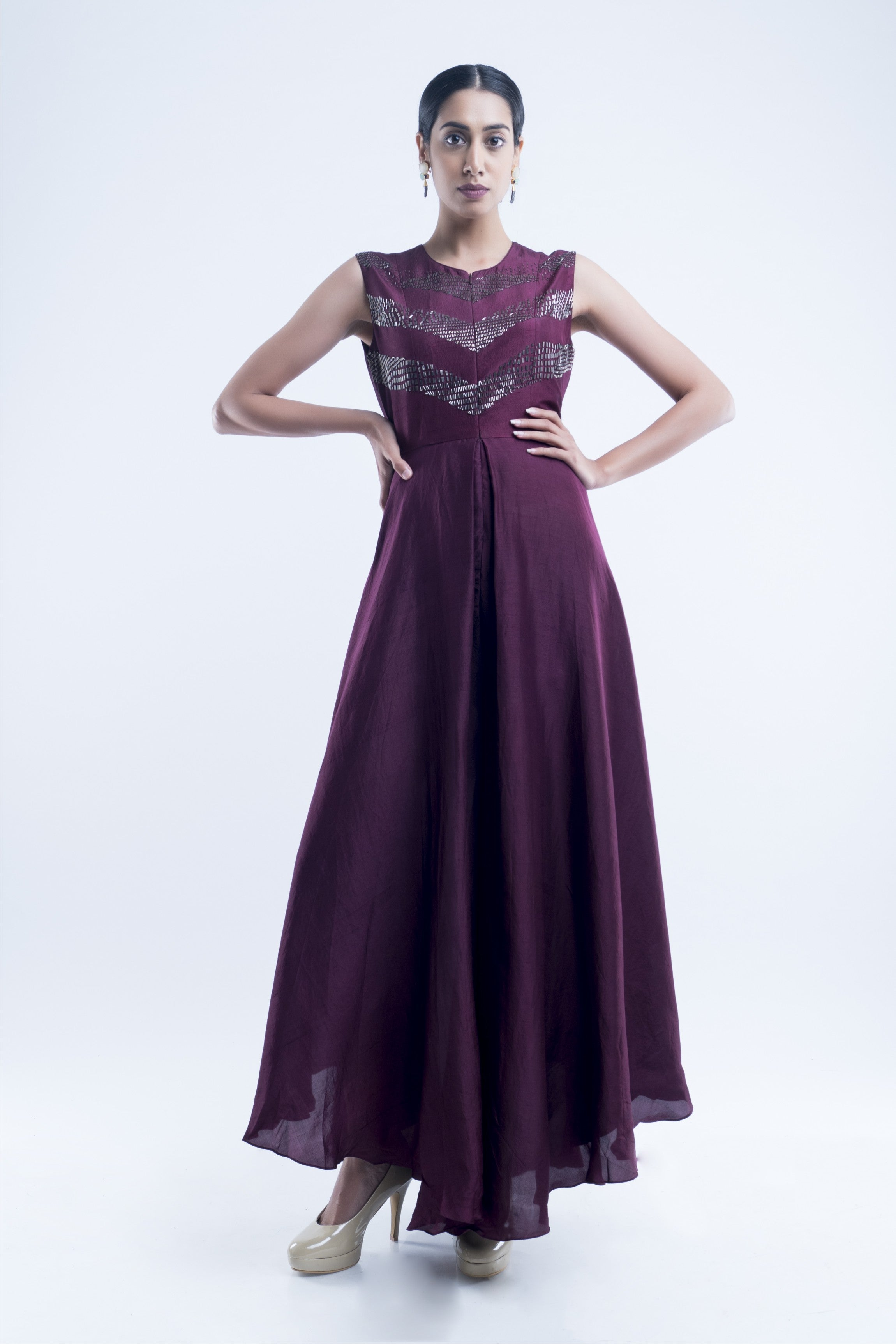 Dark Purple Flared Jumpsuit