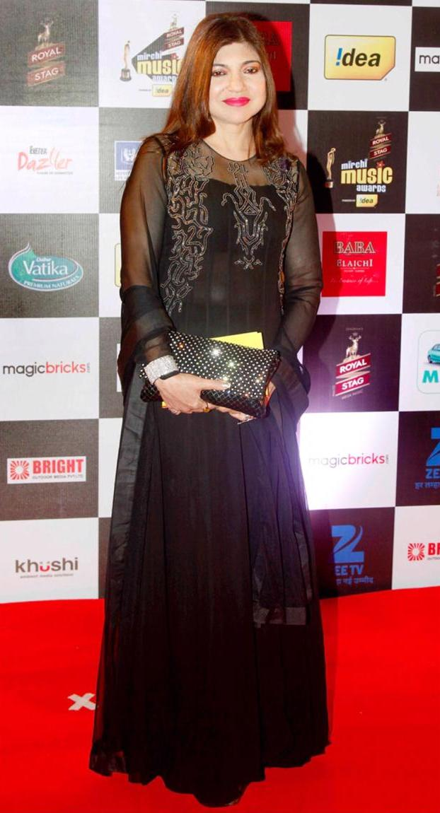 Alka Yagnik in Black Maze Embroidery Gown