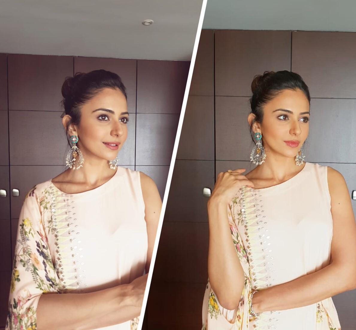 Rakul Preet In Offwhite Floral Color Block Maxi