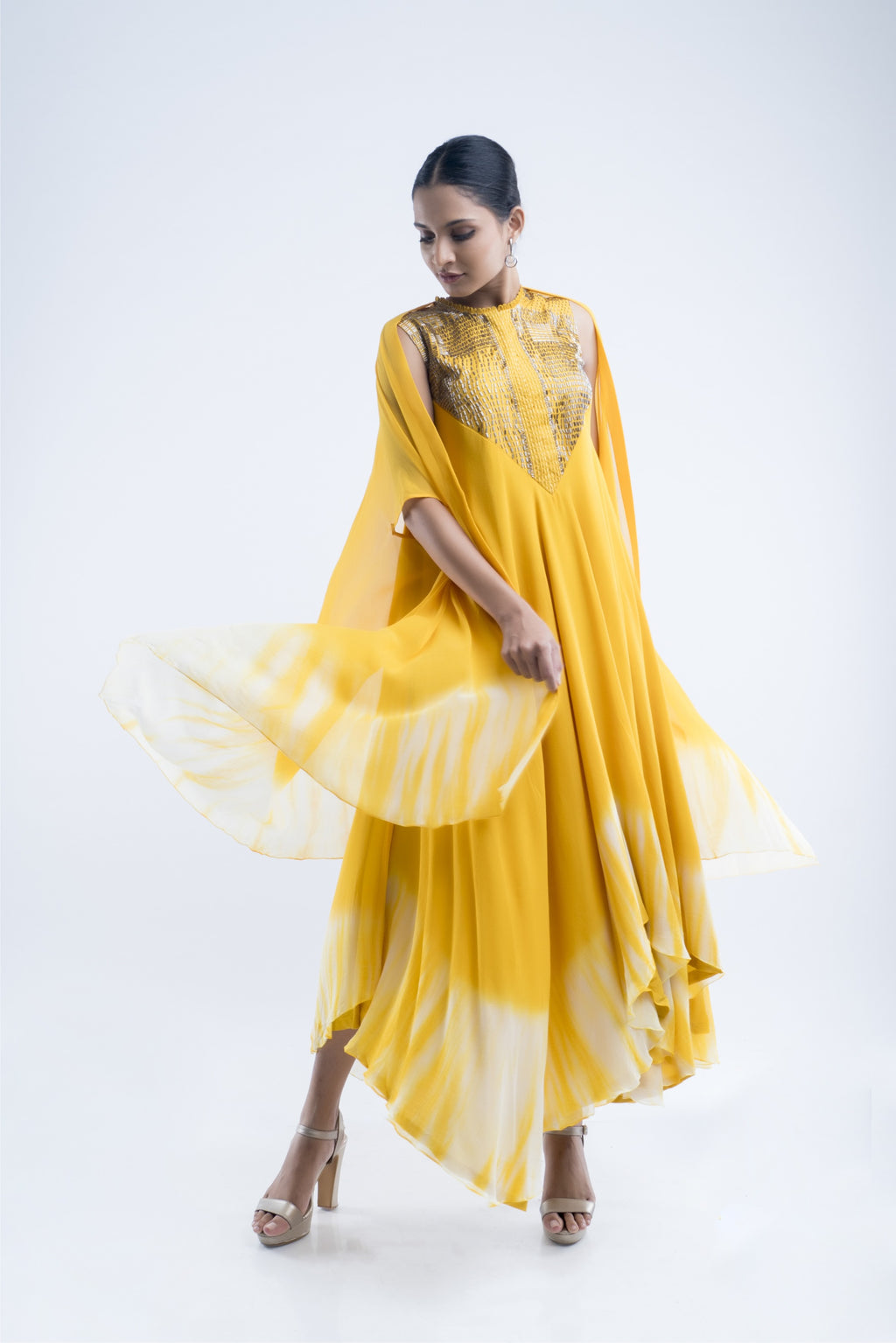Mustard Embroidere Cape Set