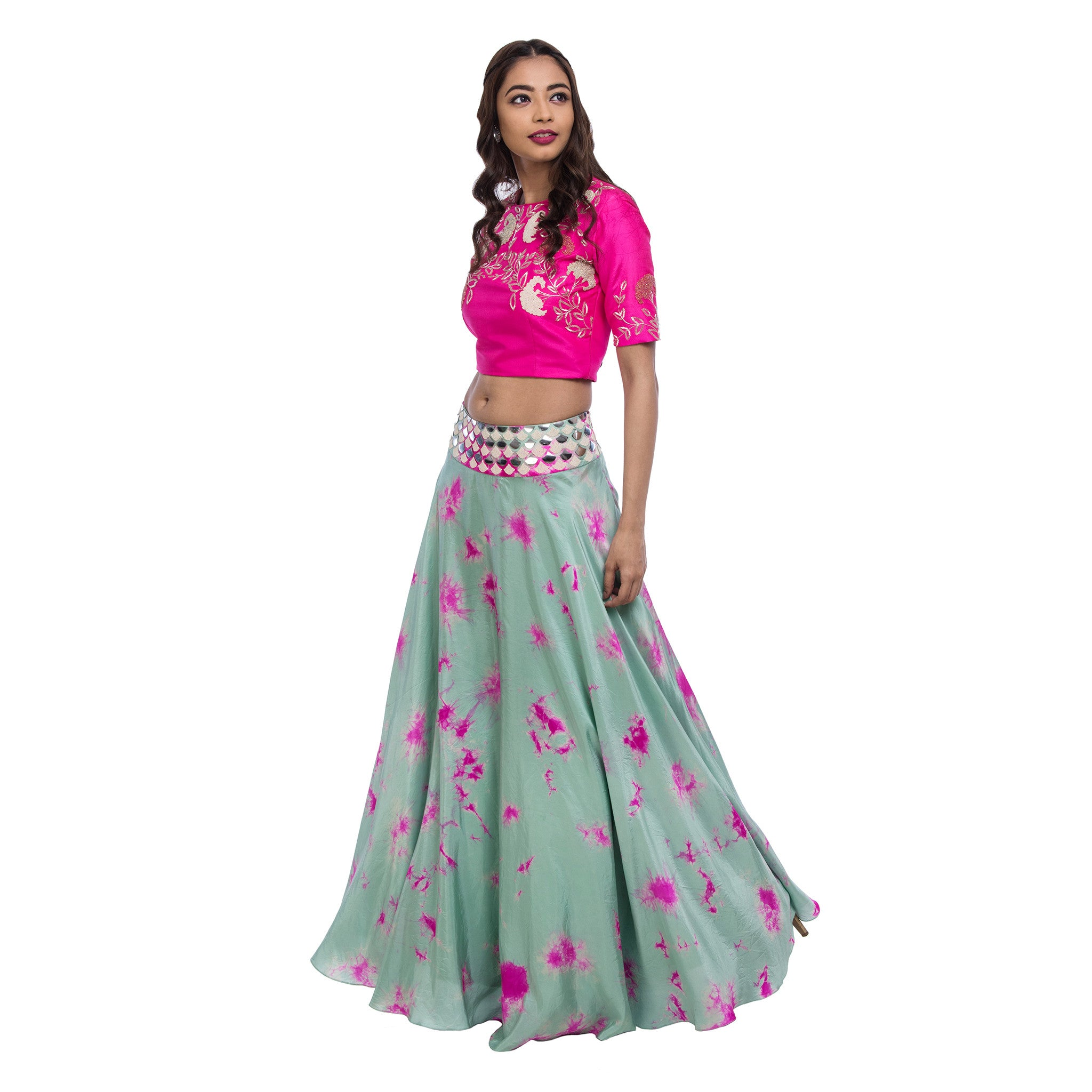 Pink & Mint Crop Top & Lehenga