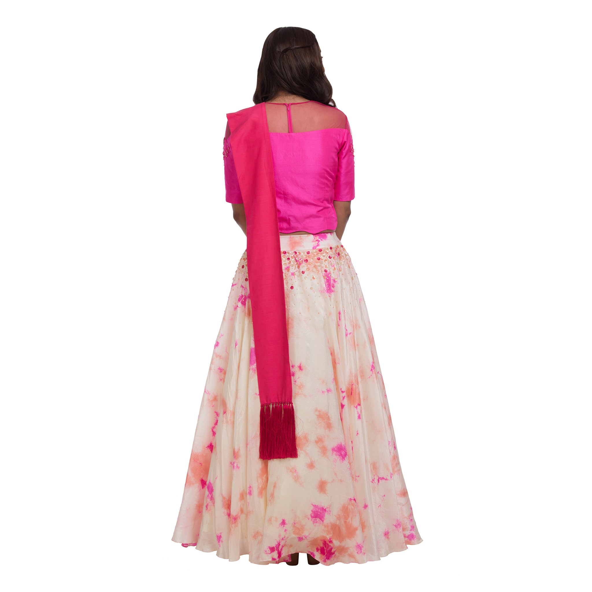Pink & Peach Crop Top & Lehenga
