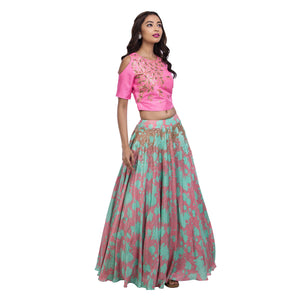 Pink Crop Top With Printed Lehenga