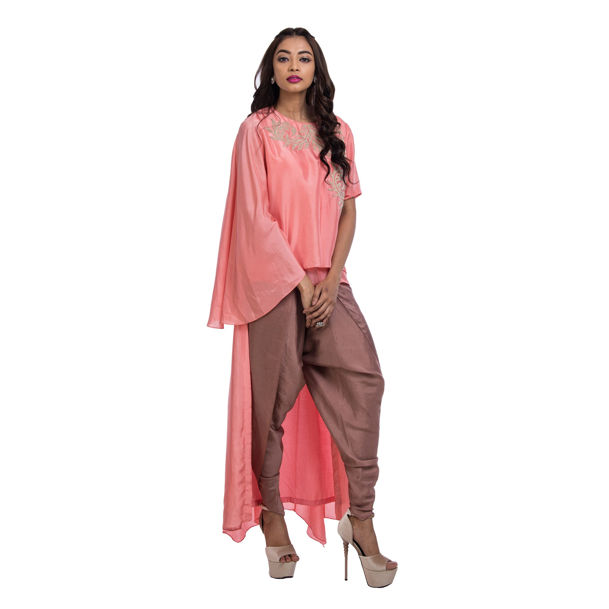 Swirl Hi Low Top With Dhoti  Pants