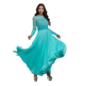 Aqua Foam Scallop Gown