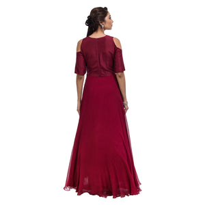 Leaves Cold Shoulder Gown