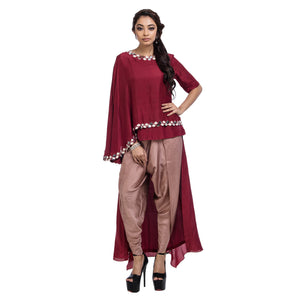 Scallop High Low Top & Dhoti Pants