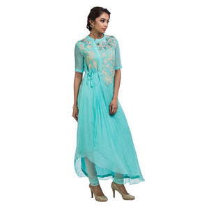 Aqua Side Pleat Tunic