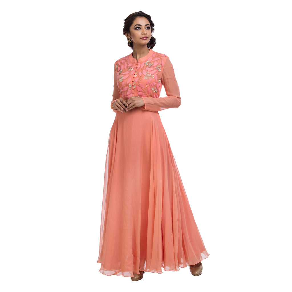Peach Leaf Foam Gown