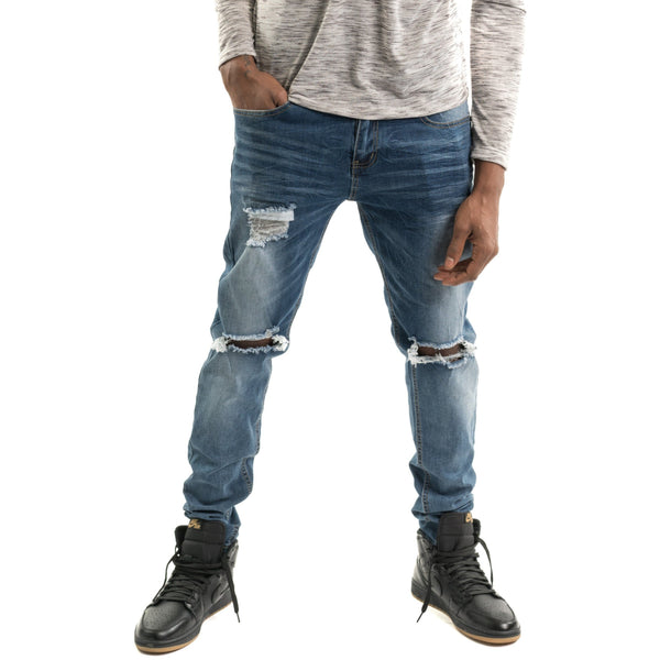 Slim Fit Ripped Jean, Dark Blue Denim