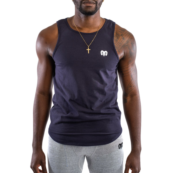Dry Fit Training Tank Top Extended Curved, Navy