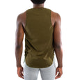 Dry Fit Training Tank Top Extended Curved, Dark Olive
