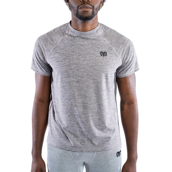 Quick Dry Compression Gym T-Shirt, Regular Fit, Heather Gray