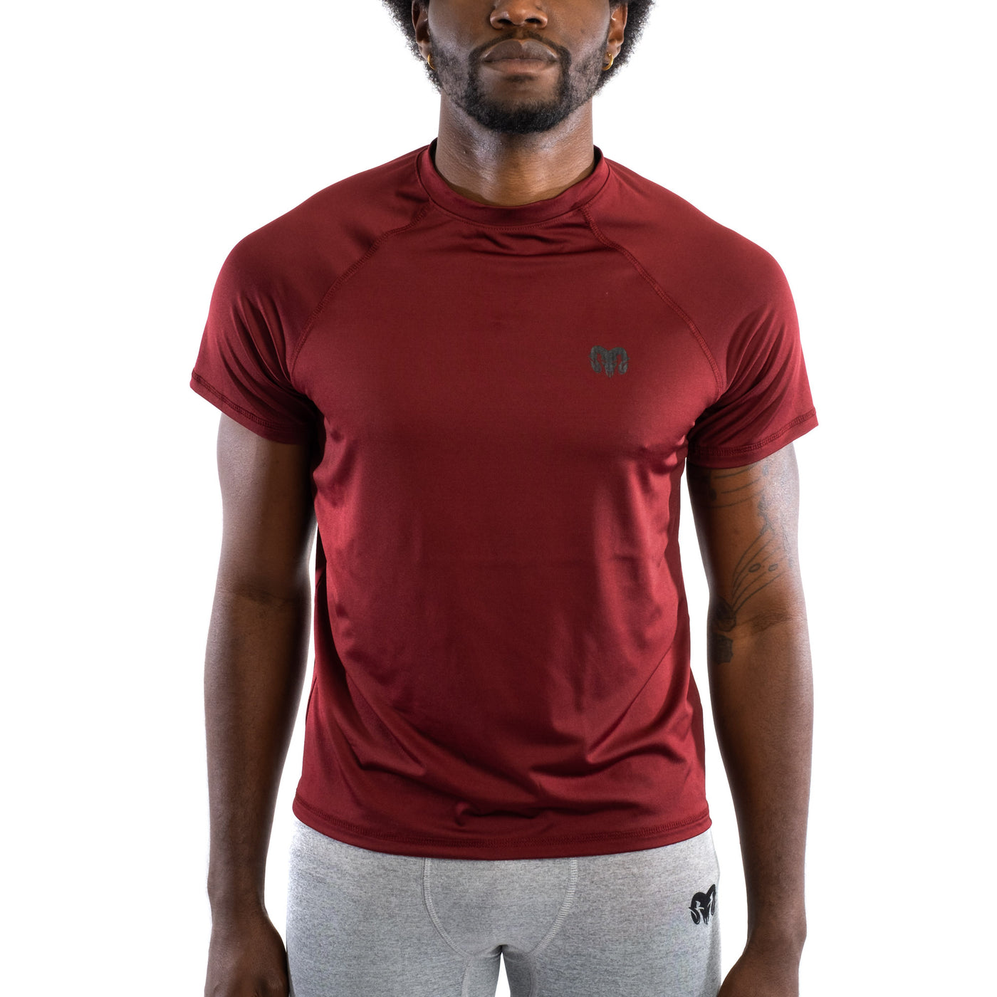 Quick Dry Compression Gym T-Shirt, Regular Fit, Burgundy
