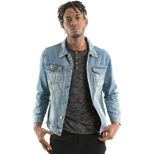 Distressed Denim Jacket, Light Blue