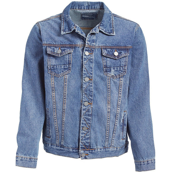 Distressed Denim Jacket, Dark Blue