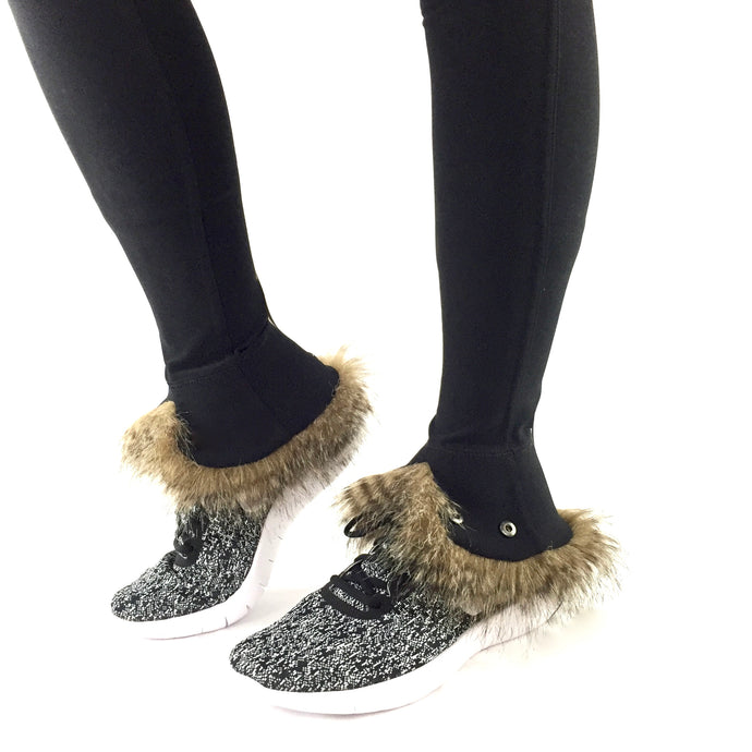 leg warmers kimblz rowdy raccoon fur front view cuff up able