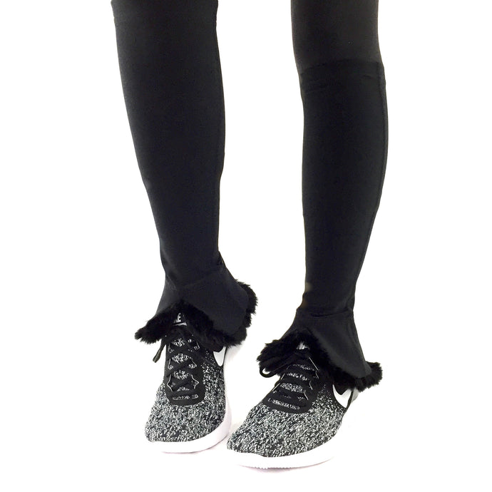 leg warmers bossy kimblz black fur lined ankle front view