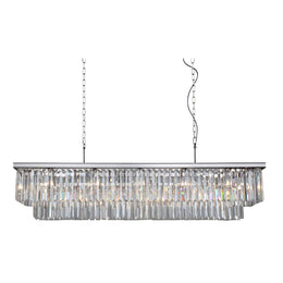 Odeon Crystal Fringe Rectangular Chandelier - Italian Concept