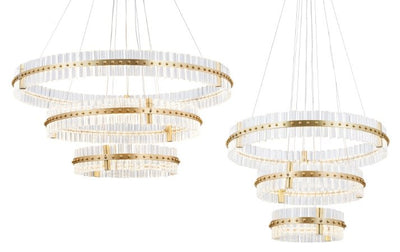 Aquinox 3-Tier Round Crystal Ring LED Chandelier - Italian Concept