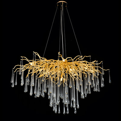 Lukas Branching Brass Linear Teardrop Chandelier
