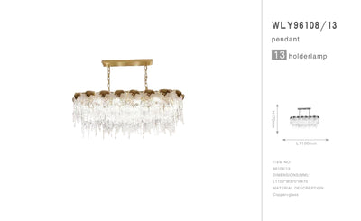 Aletta Melting Drop Crystal Glass Rectangle Chandelier - Italian Concept