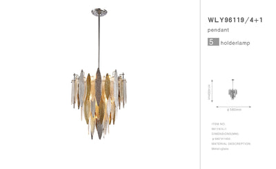 Alba Round Tiered Oval Glass Chandelier - Italian Concept