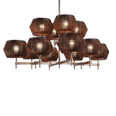 Neo Leather Shade Round Chandelier - Italian Concept