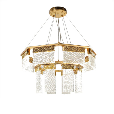 Aimee 2-Tier Round LED Down-light Glass Chandelier - Italian Concept