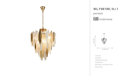 Alba Light Flushmount Tiered Oval Glass Chandelier - Italian Concept