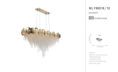 Amadeo Rectangle/ Linear Brass Crystal Chandelier - Italian Concept