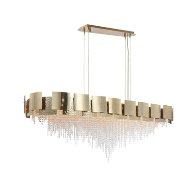 Anastagio Rectangle/ Linear Brass Crystal Bead Chandelier - Italian Concept