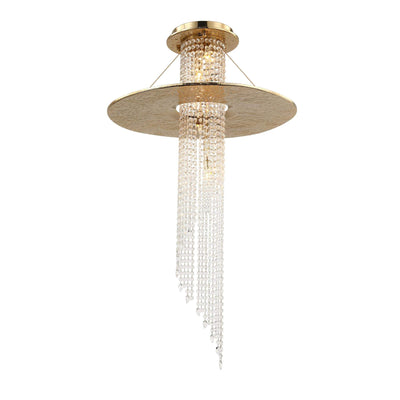 Angelina Flushmount Brass Crystal Pendant Chandelier - Italian Concept