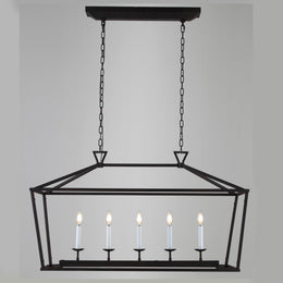 Chris Graff 6-Light Linear Farmhouse Lantern Pendant Chandelier - Italian Concept