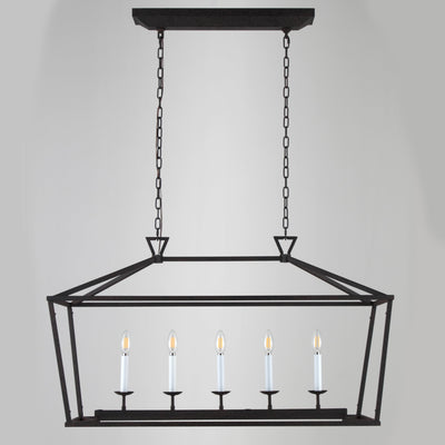 6-Light Linear Farmhouse Lantern Pendant Chandelier - Italian Concept